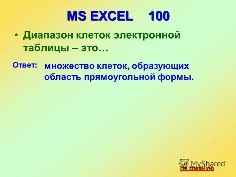MS EXCEL 100 Диапазон клеток электронной таблицы – это… На главную На главную Ответ: множество клеток, образующих область прямоугольной формы.