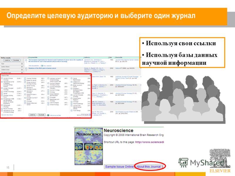15 Используя свои ссылки Используя базы данных научной информации Определите целевую аудиторию и выберите один журнал