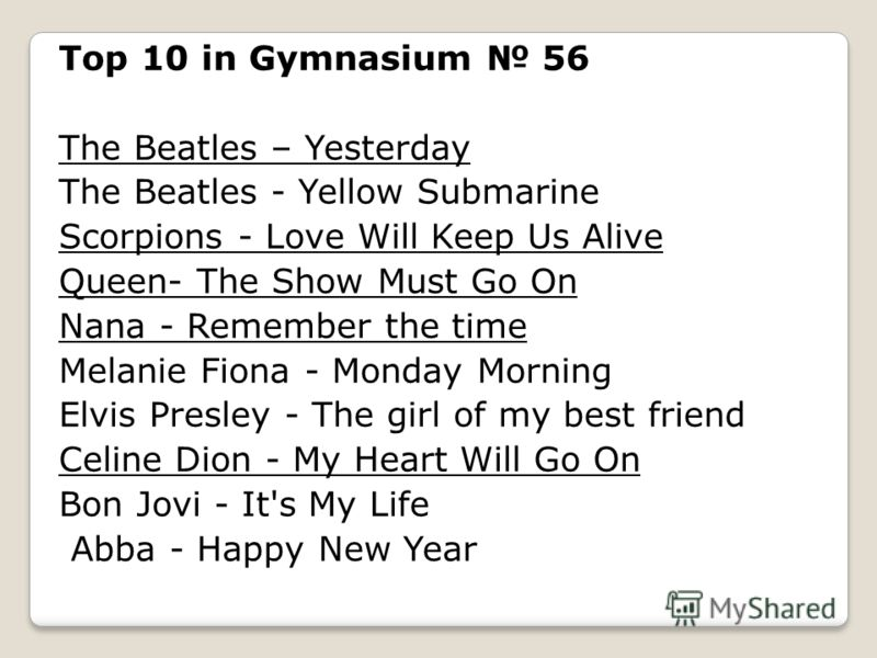 Top 10 in Gymnasium 56 The Beatles – Yesterday The Beatles - Yellow Submarine Scorpions - Love Will Keep Us Alive Queen- The Show Must Go On Nana - Remember the time Melanie Fiona - Monday Morning Elvis Presley - The girl of my best friend Celine Dio