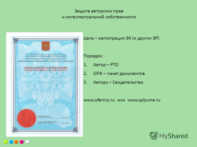 Защита авторских прав и интеллектуальной собственности Цель – регистрация ЭК (и других ЭР) Порядок: 1.Автор – РТО 2.ОПК – пакет документов 3.Автору – Свидетельство www.ofernio.ru или www.spbume.ru
