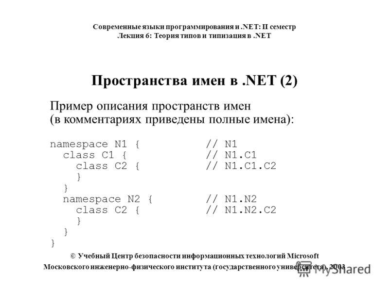 Пространства имен в.NET (2) Пример описания пространств имен (в комментариях приведены полные имена): namespace N1 { // N1 class C1 { // N1.C1 class C2 { // N1.C1.C2 } namespace N2 { // N1.N2 class C2 {// N1.N2.C2 } Современные языки программирования