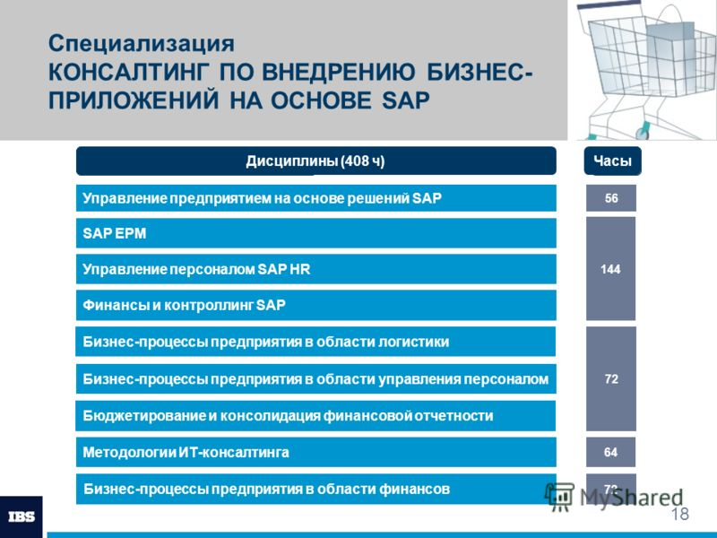 18 Специализация КОНСАЛТИНГ ПО ВНЕДРЕНИЮ БИЗНЕС- ПРИЛОЖЕНИЙ НА ОСНОВЕ SAP Управление предприятием на основе решений SAP Модули SAP EPM Управление персоналом SAP HR 56 Часы Финансы и контроллинг SAP Бюджетирование и консолидация финансовой отчетности