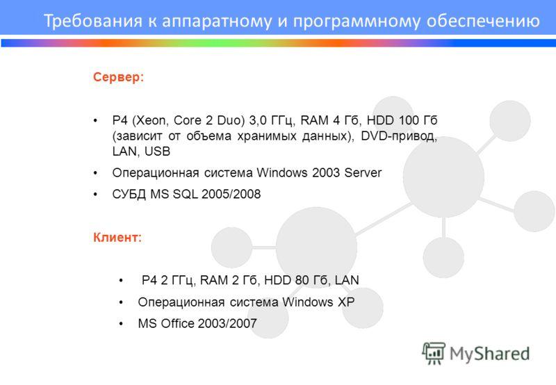 Сервер: Р4 (Xeon, Core 2 Duo) 3,0 ГГц, RAM 4 Гб, HDD 100 Гб (зависит от объема хранимых данных), DVD-привод, LAN, USB Операционная система Windows 2003 Server СУБД MS SQL 2005/2008 Клиент: Р4 2 ГГц, RAM 2 Гб, HDD 80 Гб, LAN Операционная система Windo