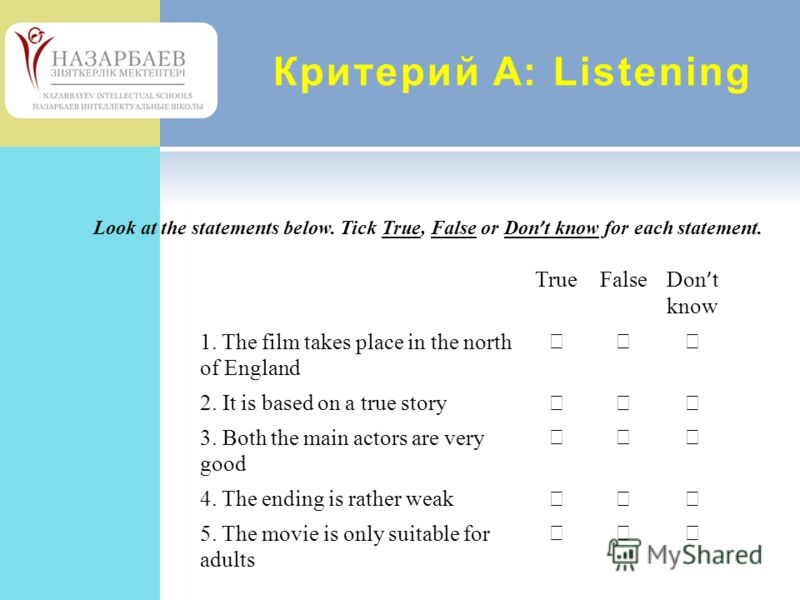 Критерий А: Listening Look at the statements below. Tick True, False or Don t know for each statement. TrueFalse Don t know 1. The film takes place in the north of England 2. It is based on a true story 3. Both the main actors are very good 4. The en