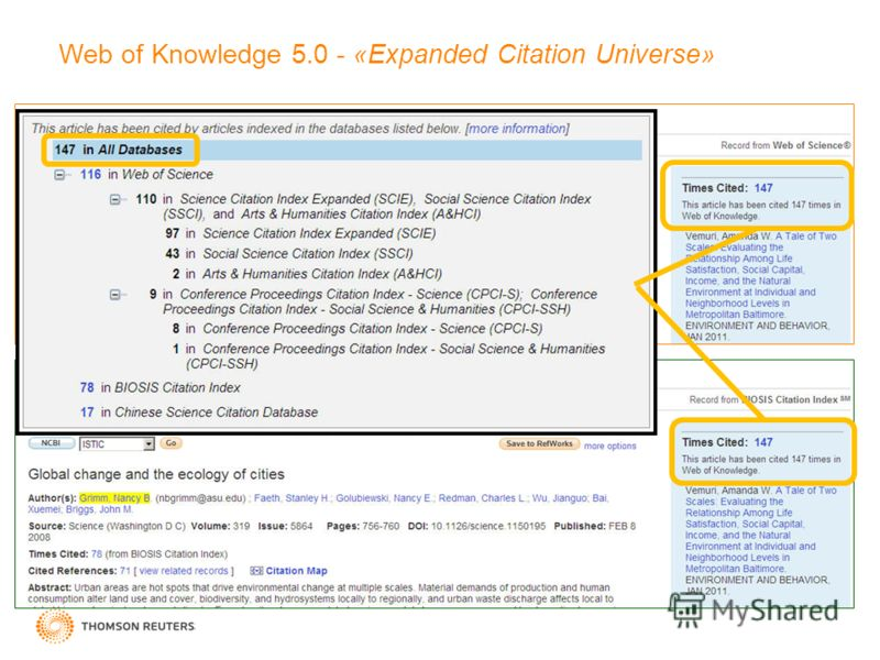 Web of Knowledge 5.0 - «Expanded Citation Universe»
