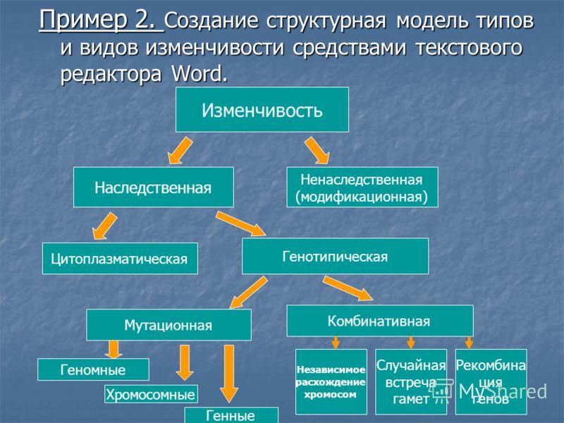 Пример 2. Создание структурная модель типов и видов изменчивости средствами текстового редактора Word. Изменчивость Наследственная Ненаследственная (модификационная) Цитоплазматическая Генотипическая Мутационная Комбинативная Геномные Хромосомные Ген