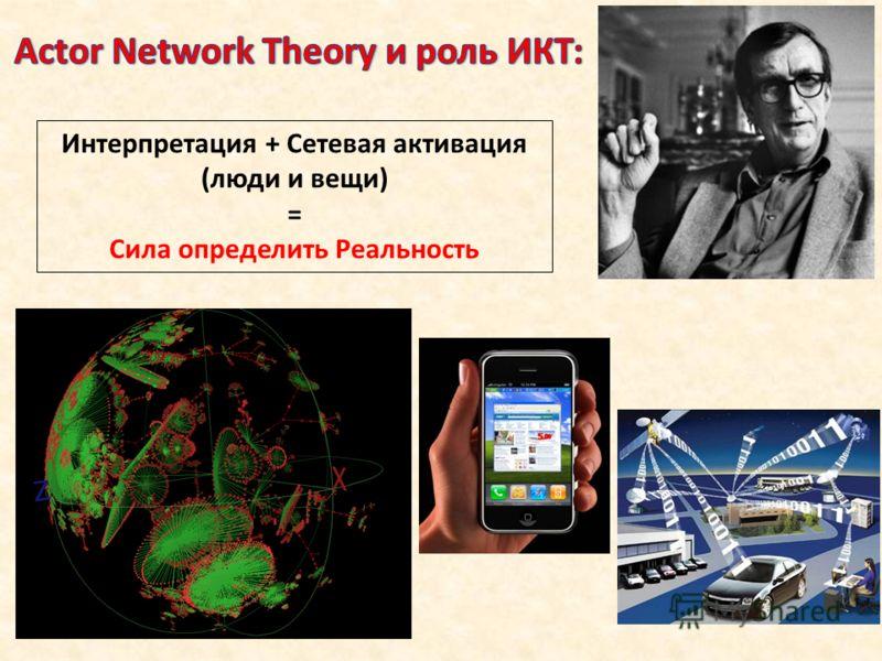 Интерпретация + Сетевая активация (люди и вещи) = Сила определить Реальность