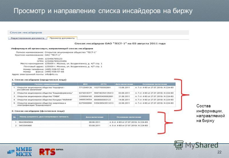 Просмотр и направление списка инсайдеров на биржу 22 Состав информации, направляемой на биржу