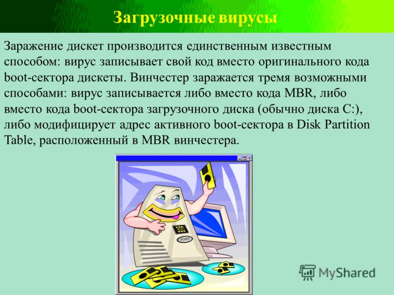 Загрузочные вирусы Заражение дискет производится единственным известным способом: вирус записывает свой код вместо оригинального кода boot-сектора дискеты. Винчестер заражается тремя возможными способами: вирус записывается либо вместо кода MBR, либо