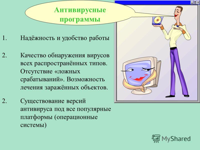 1.Надёжность и удобство работы Антивирусные программы 2.Качество обнаружения вирусов всех распространённых типов. Отсутствие «ложных срабатываний». Во