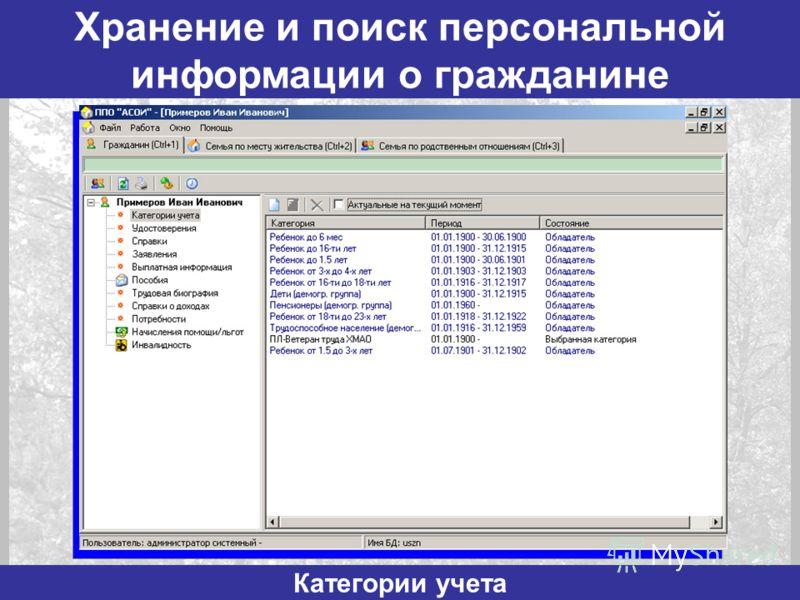 Хранение и поиск персональной информации о гражданине Категории учета