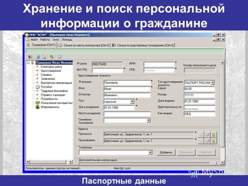 Хранение и поиск персональной информации о гражданине Паспортные данные