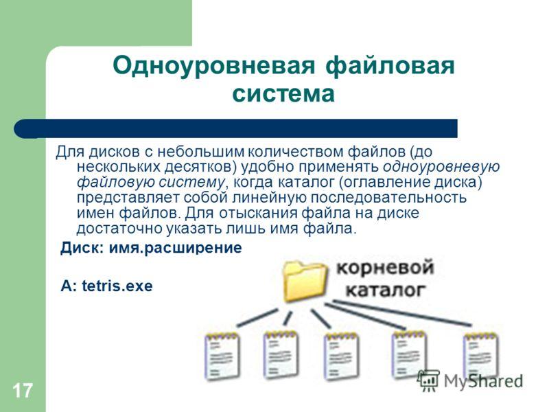 17 Одноуровневая файловая система Для дисков с небольшим количеством файлов (до нескольких десятков) удобно применять одноуровневую файловую систему, когда каталог (оглавление диска) представляет собой линейную последовательность имен файлов. Для оты
