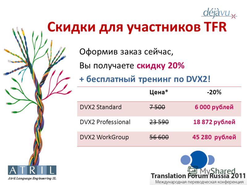 Скидки для участников TFR Оформив заказ сейчас, Вы получаете скидку 20% + бесплатный тренинг по DVX2! Цена*-20% DVX2 Standard7 5006 000 рублей DVX2 Professional23 59018 872 рублей DVX2 WorkGroup56 60045 280 рублей