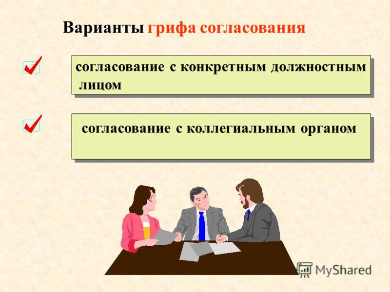 25. Гриф согласования Согласование – это оценка проекта документа, то есть проверка целесообразности и своевременности документа, соответствия его действующим нормативным актам, реальности выполнения мероприятий. Согласование внешнее внутреннее грифо