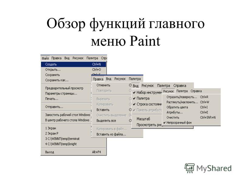 Обзор функций главного меню Paint