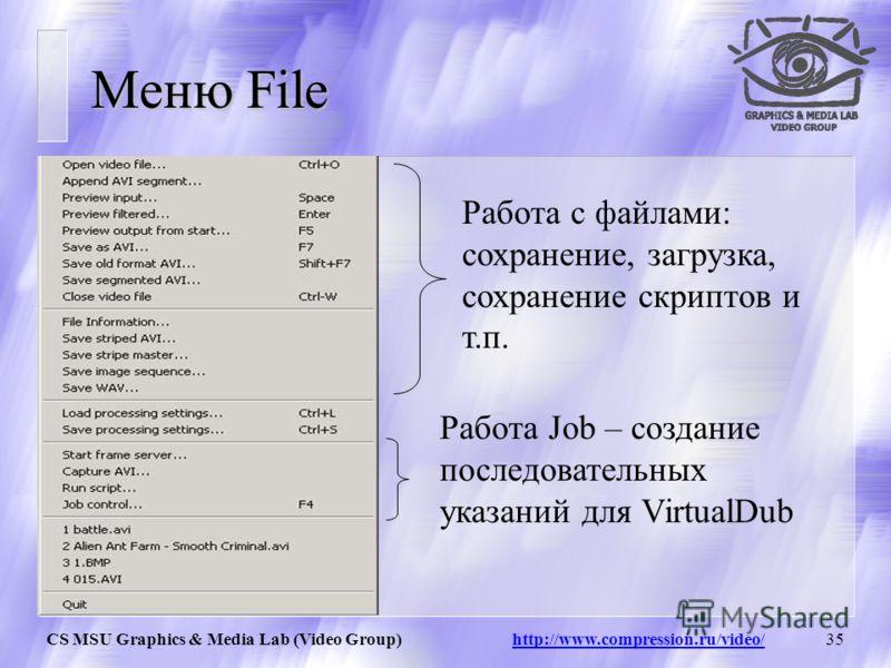 CS MSU Graphics & Media Lab (Video Group) http://www.compression.ru/video/34 Панель управления Воспроизвести Исходное видео Сэмплинг Воспроизвести с фильтром Перемотка стоп