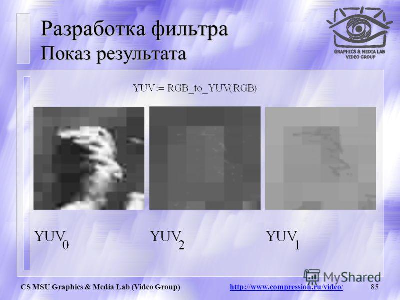 CS MSU Graphics & Media Lab (Video Group) http://www.compression.ru/video/84 Разработка фильтра Перевод изображения в YUV