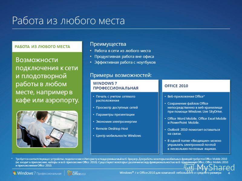 Windows ® 7 и Office 2010 для компаний небольшого и среднего размера Более эффективная работа и сотрудничество Преимущества Ускоренный запуск, оперативное решение проблем, повышение производительности Улучшенная совместная работа, общий доступ к файл