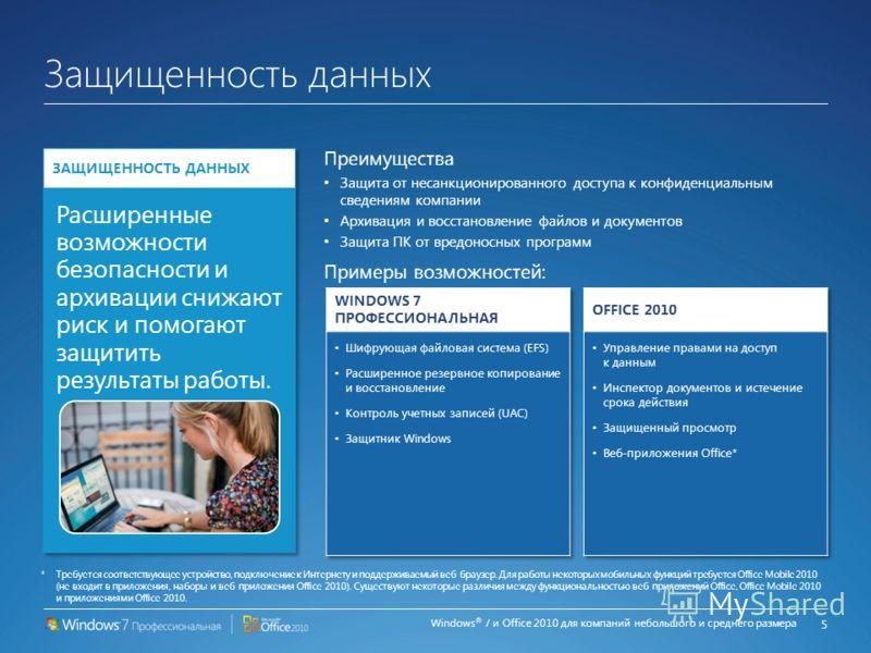 Windows ® 7 и Office 2010 для компаний небольшого и среднего размера Работа из любого места Преимущества Работа в сети из любого места Продуктивная работа вне офиса Эффективная работа с ноутбуков Примеры возможностей: 4 *Требуется соответствующее уст