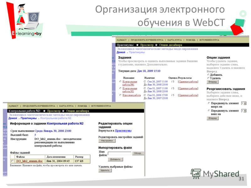 Организация электронного обучения в WebCT 31