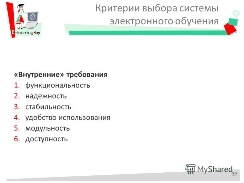 Критерии выбора системы электронного обучения «Внутренние» требования 1.функциональность 2.надежность 3.стабильность 4.удобство использования 5.модульность 6.доступность 37