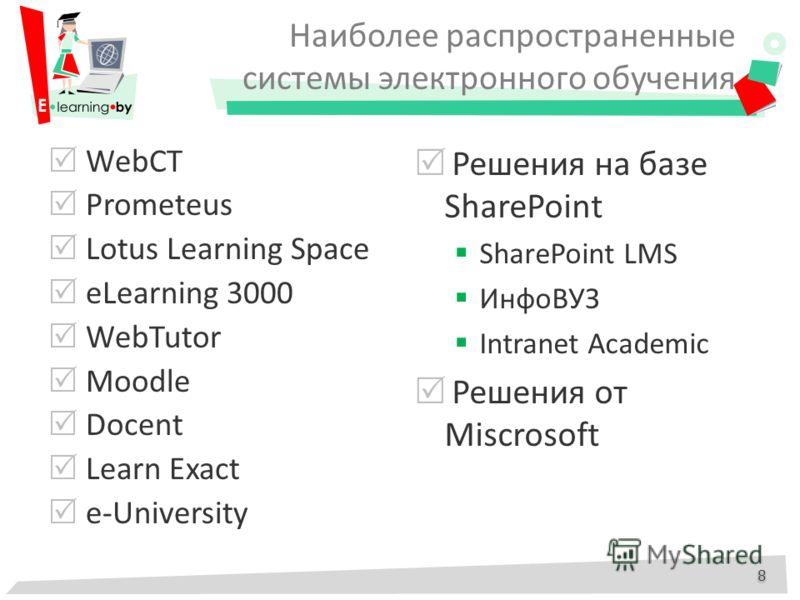 Наиболее распространенные системы электронного обучения WebCT Prometeus Lotus Learning Space eLearning 3000 WebTutor Moodle Docent Learn Exact e-University Решения на базе SharePoint SharePoint LMS ИнфоВУЗ Intranet Academic Решения от Miscrosoft 8 8