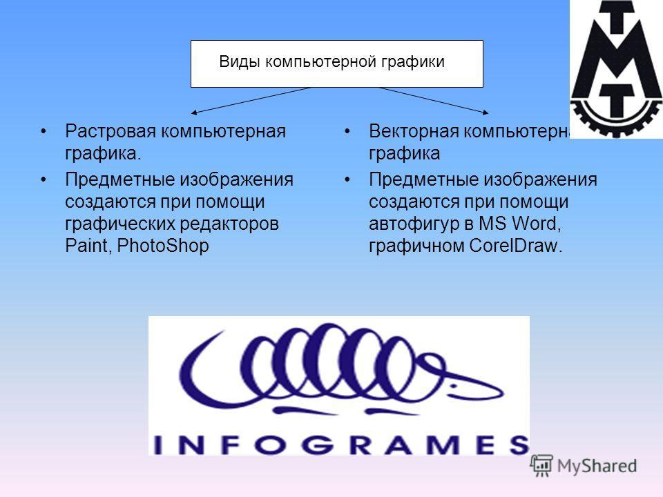 Виды компьютерной графики Растровая компьютерная графика. Предметные изображения создаются при помощи графических редакторов Paint, PhotoShop Векторная компьютерная графика Предметные изображения создаются при помощи автофигур в MS Word, графичном Co