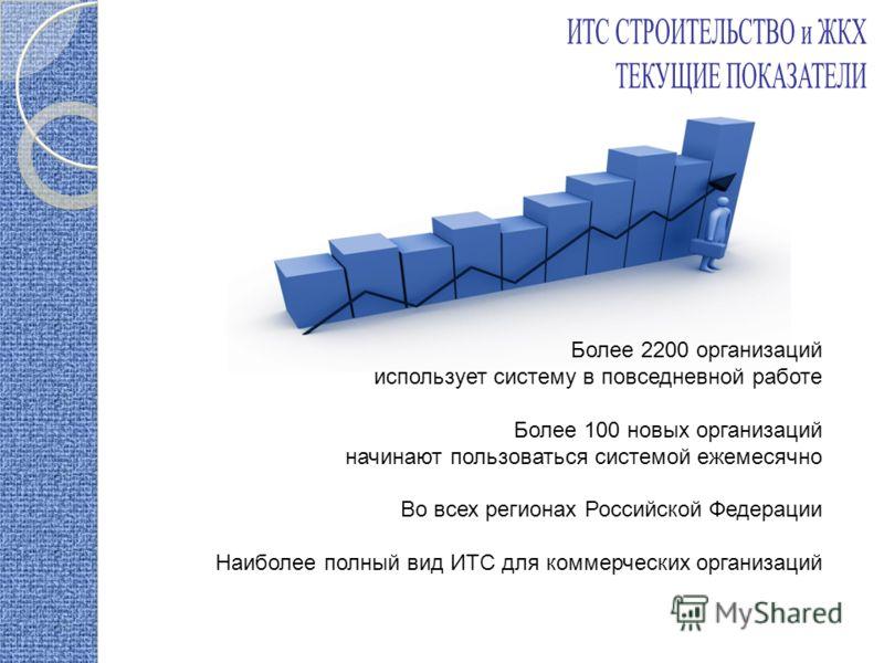 Более 2200 организаций использует систему в повседневной работе Более 100 новых организаций начинают пользоваться системой ежемесячно Во всех регионах Российской Федерации Наиболее полный вид ИТС для коммерческих организаций