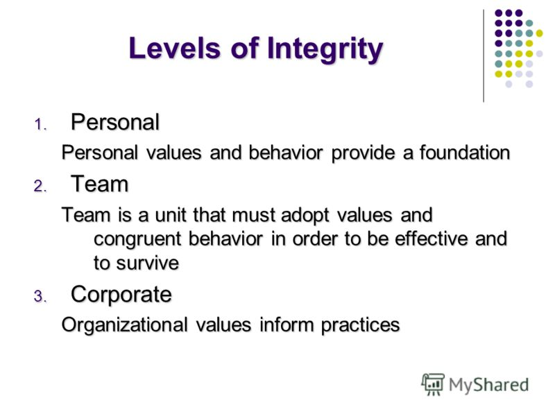 Levels of Integrity 1. Personal Personal values and behavior provide a foundation 2. Team Team is a unit that must adopt values and congruent behavior in order to be effective and to survive 3. Corporate Organizational values inform practices