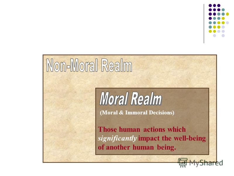 (Moral & Immoral Decisions) Those human actions which significantly impact the well-being of another human being.