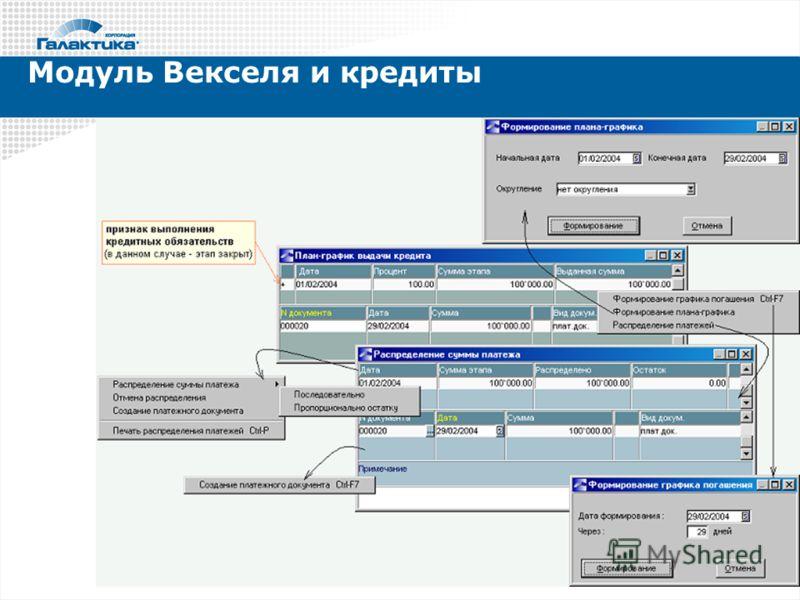 Модуль Векселя и кредиты