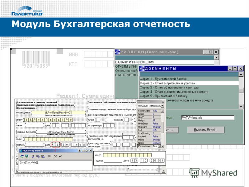 Модуль Бухгалтерская отчетность