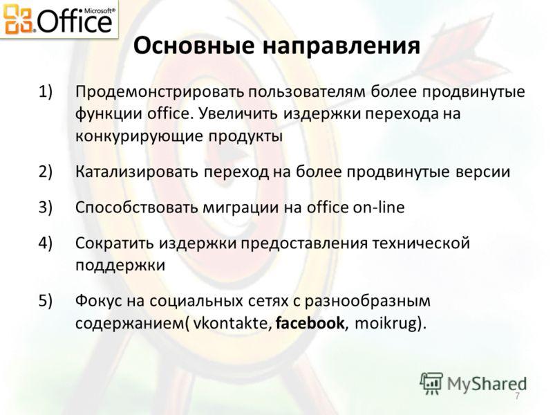 Основные направления 1)Продемонстрировать пользователям более продвинутые функции office. Увеличить издержки перехода на конкурирующие продукты 2)Катализировать переход на более продвинутые версии 3)Способствовать миграции на office on-line 4)Сократи