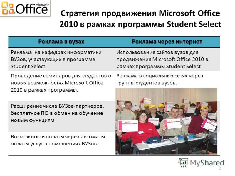 Стратегия продвижения Microsoft Office 2010 в рамках программы Student Select Реклама в вузах Реклама через интернет Реклама на кафедрах информатики ВУЗов, участвующих в программе Student Select Использование сайтов вузов для продвижения Microsoft Of