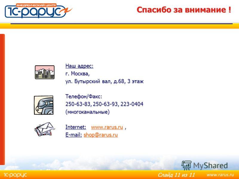 Слайд 11 из 11 Спасибо за внимание ! Наш адрес: г. Москва, ул. Бутырский вал, д.68, 3 этаж Телефон/Факс: 250-63-83, 250-63-93, 223-0404 (многоканальные) Internet: www.rarus.ru, www.rarus.ru E-mail: shop@rarus.ru shop@rarus.ru