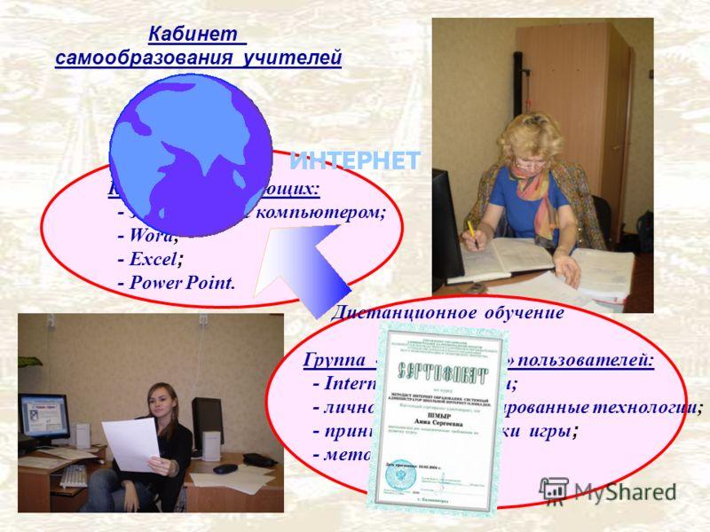 Кабинет самообразования учителей Курс для начинающих: - знакомство с компьютером; - Word; - Excel ; - Power Point. Группа «продвинутых» пользователей: - Internet - технологии; - личностно-ориентированные технологии; - принципы педагогики игры ; - мет