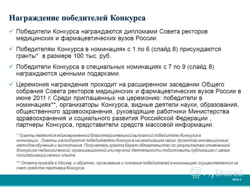 Победители Конкурса награждаются дипломами Совета ректоров медицинских и фармацевтических вузов России. Победителям Конкурса в номинациях с 1 по 6 (слайд 8) присуждаются гранты* в размере 100 тыс. руб. Победители Конкурса в специальных номинациях с 7