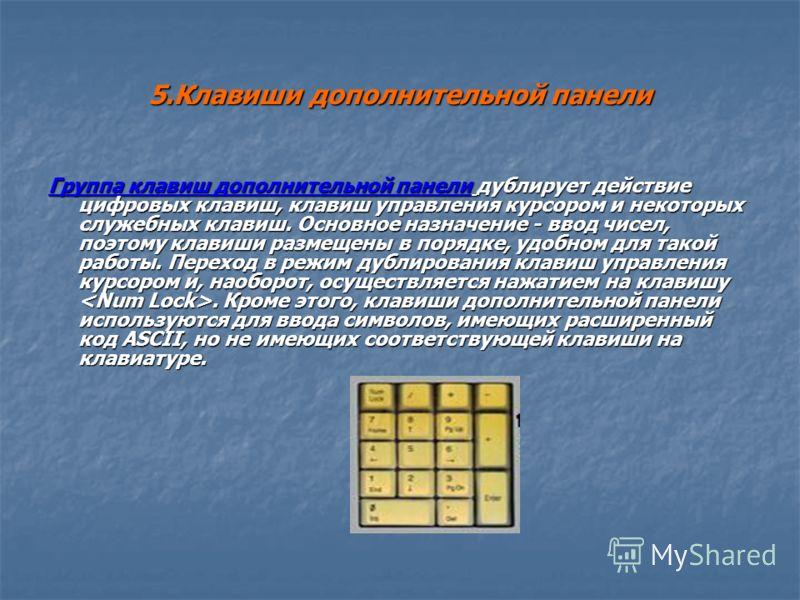 5.Клавиши дополнительной панели Группа клавиш дополнительной панели дублирует действие цифровых клавиш, клавиш управления курсором и некоторых служебных клавиш. Основное назначение - ввод чисел, поэтому клавиши размещены в порядке, удобном для такой