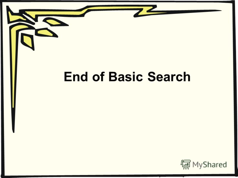 End of Basic Search