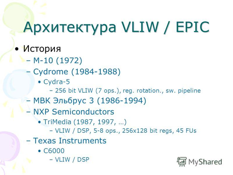 Архитектура VLIW / EPIC История –M-10 (1972) –Cydrome (1984-1988) Cydra-5 –256 bit VLIW (7 ops.), reg. rotation., sw. pipeline –МВК Эльбрус 3 (1986-1994) –NXP Semiconductors TriMedia (1987, 1997, …) –VLIW / DSP, 5-8 ops., 256x128 bit regs, 45 FUs –Te
