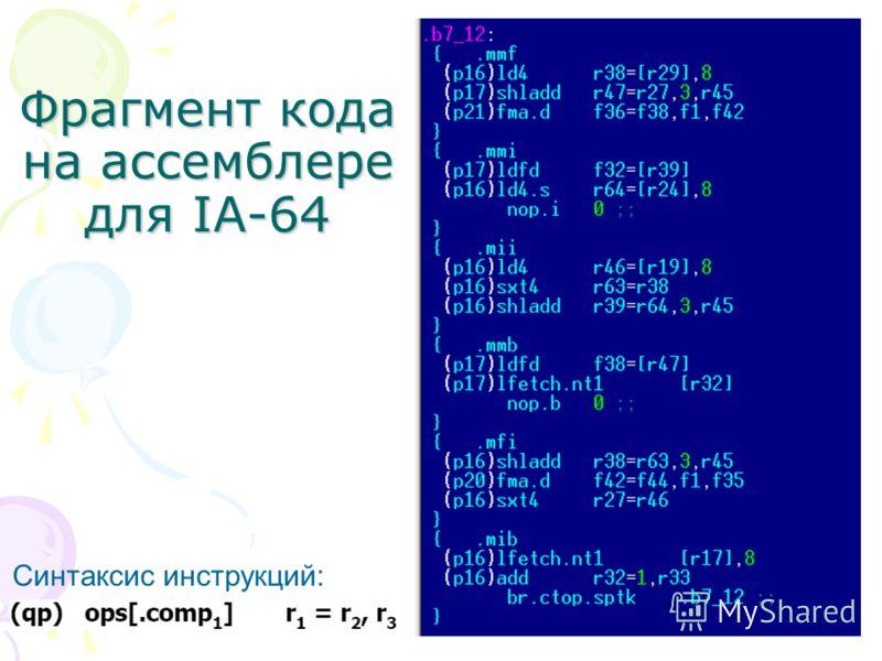Фрагмент кода на ассемблере для IA-64 Синтаксис инструкций: