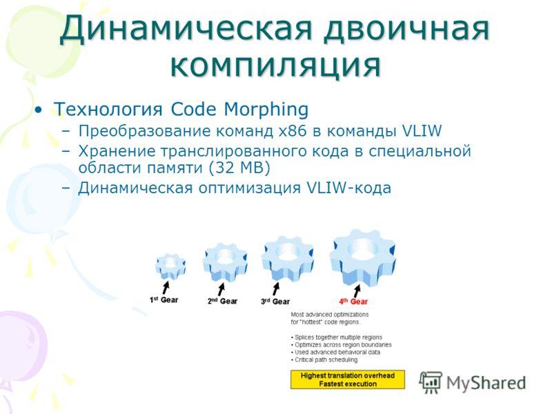 Динамическая двоичная компиляция Технология Code Morphing –Преобразование команд x86 в команды VLIW –Хранение транслированного кода в специальной области памяти (32 MB) –Динамическая оптимизация VLIW-кода
