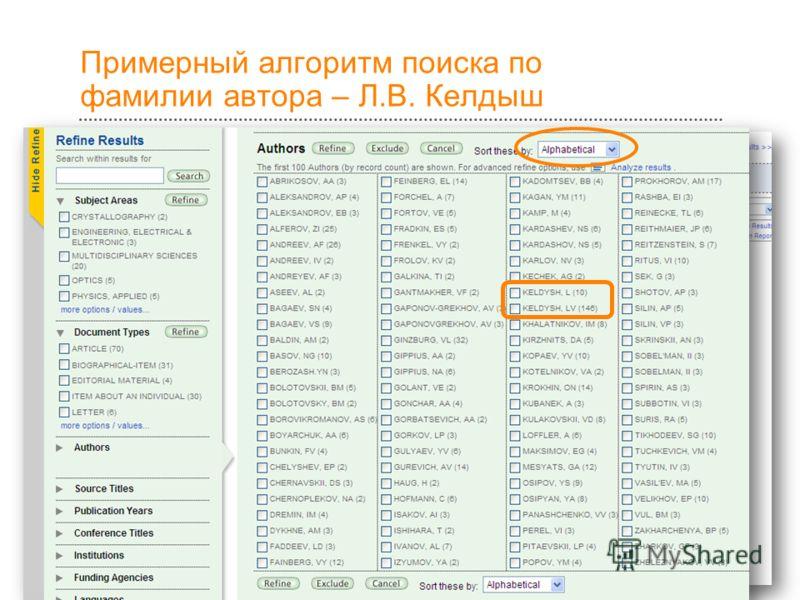 18 Примерный алгоритм поиска по фамилии автора – Л.В. Келдыш