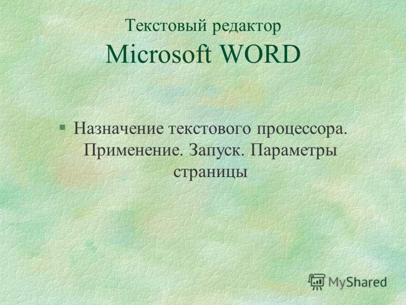 1 Текстовый редактор Microsoft WORD §Назначение текстового процессора. Применение. Запуск. Параметры страницы