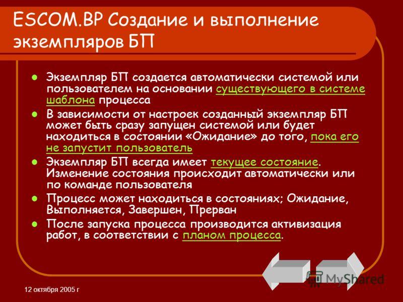 12 октября 2005 г ESCOM.BP Создание и выполнение экземпляров БП Экземпляр БП создается автоматически системой или пользователем на основании существующего в системе шаблона процессасуществующего в системе шаблона В зависимости от настроек созданный э