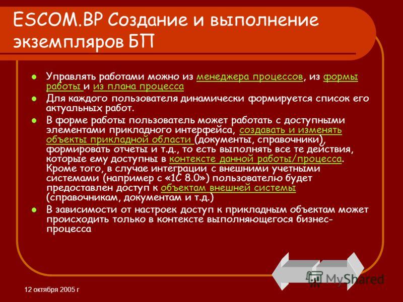 12 октября 2005 г ESCOM.BP Создание и выполнение экземпляров БП Управлять работами можно из менеджера процессов, из формы работы и из плана процессаменеджера процессовформы работы из плана процесса Для каждого пользователя динамически формируется спи
