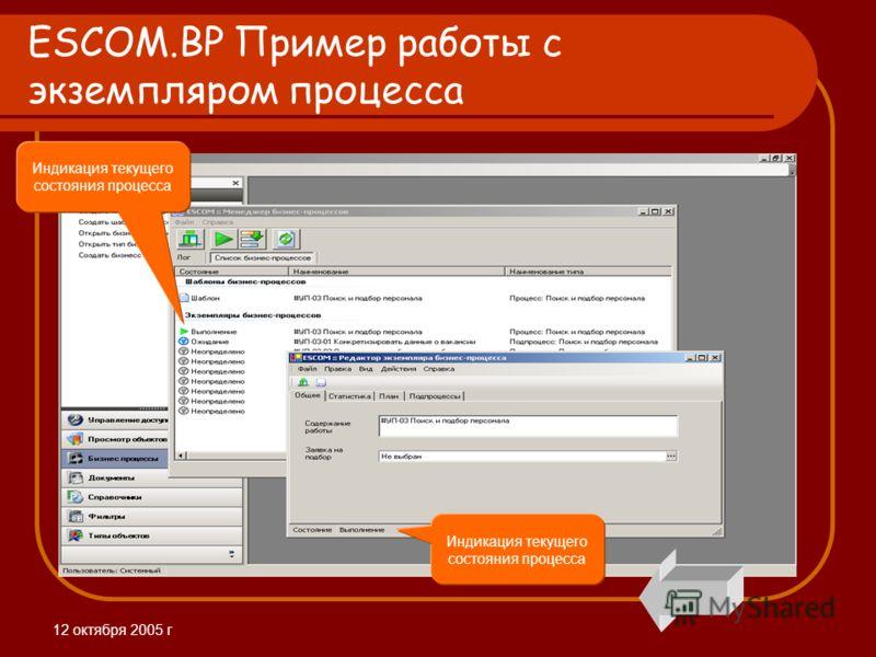 12 октября 2005 г ESCOM.BP Пример работы с экземпляром процесса Индикация текущего состояния процесса