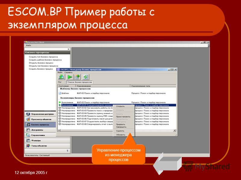 12 октября 2005 г ESCOM.BP Пример работы с экземпляром процесса Управление процессом из менеджера процессов