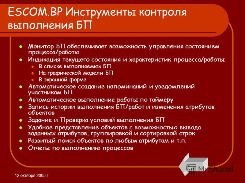12 октября 2005 г ESCOM.BP Инструменты контроля выполнения БП Монитор БП обеспечивает возможность управления состоянием процесса/работы Индикация текущего состояния и характеристик процесса/работы В списке выполняемых БП На графической модели БП В эк